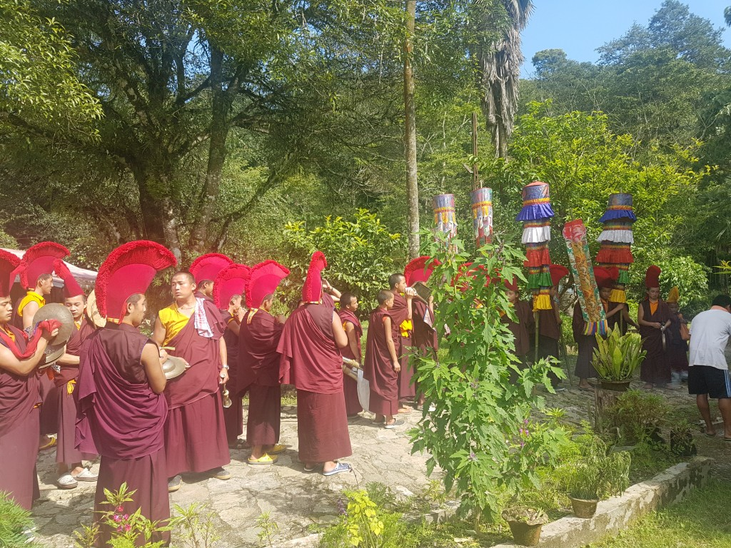 The procession passes through our farm